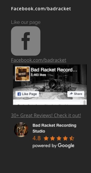 Facebook for Bad Racket Recording Studio Cleveland